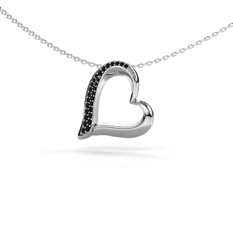 Halsketting Heart 1 585 witgoud zwarte diamant 0.16 crt