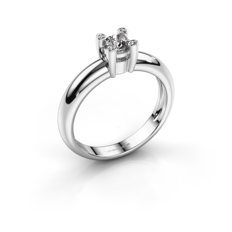 Ring Fleur 585 witgoud diamant 0.27 crt