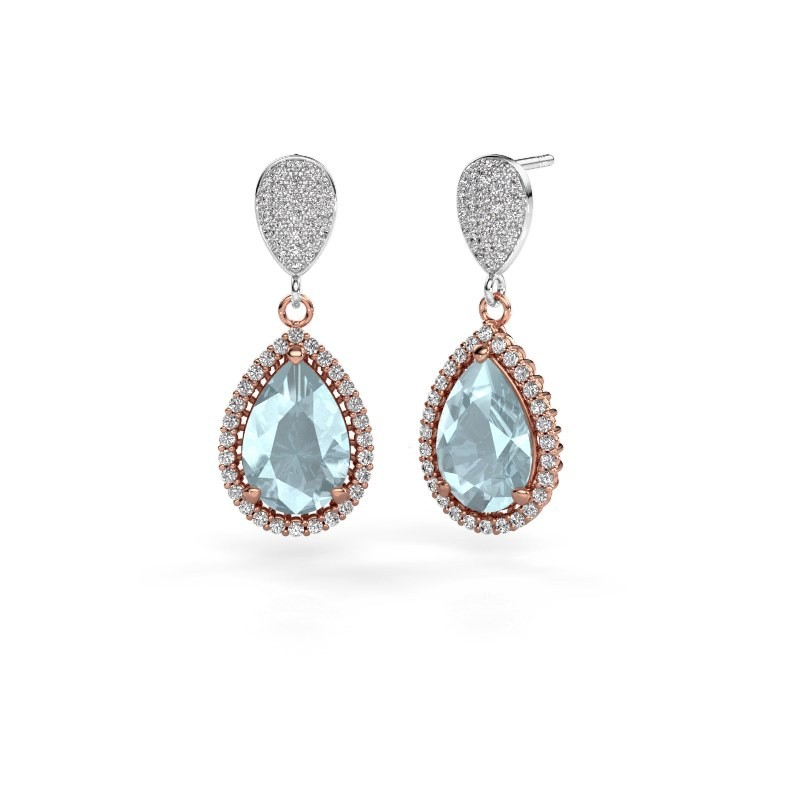 Drop earrings Tilly per 2 585 rose gold aquamarine 12x8 mm