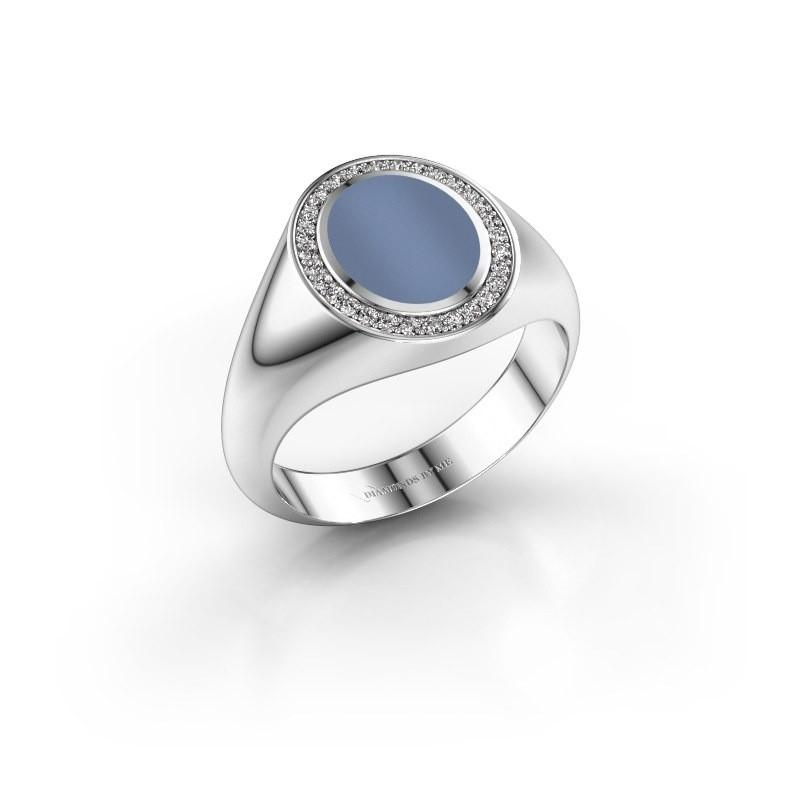 Pinky ring Adam 1 375 white gold light blue sardonyx 10x8 mm
