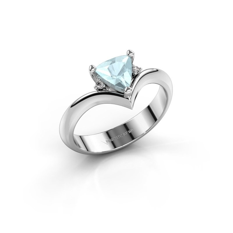 Ring Arlette 950 platina aquamarijn 7 mm