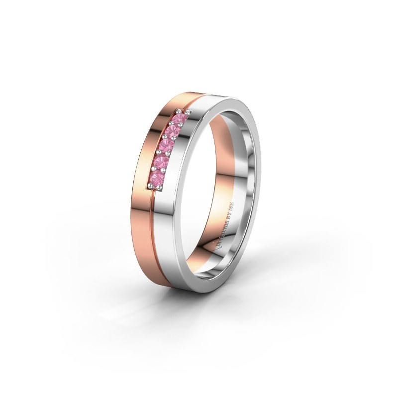 Wedding ring WH0211L15AP 585 rose gold pink sapphire ±0.20x0.07 in