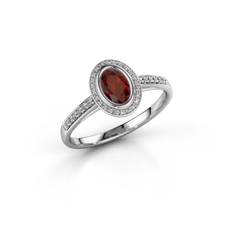 Engagement ring Noud 2 OVL 925 silver garnet 6x4 mm