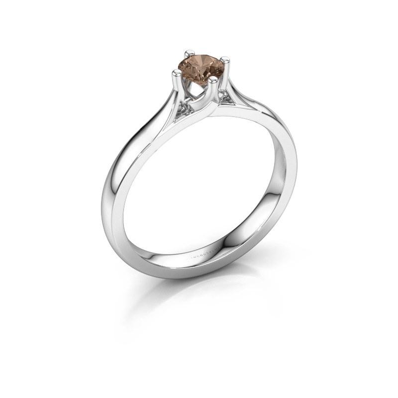 Verlovingsring Eva 585 witgoud bruine diamant 0.30 crt