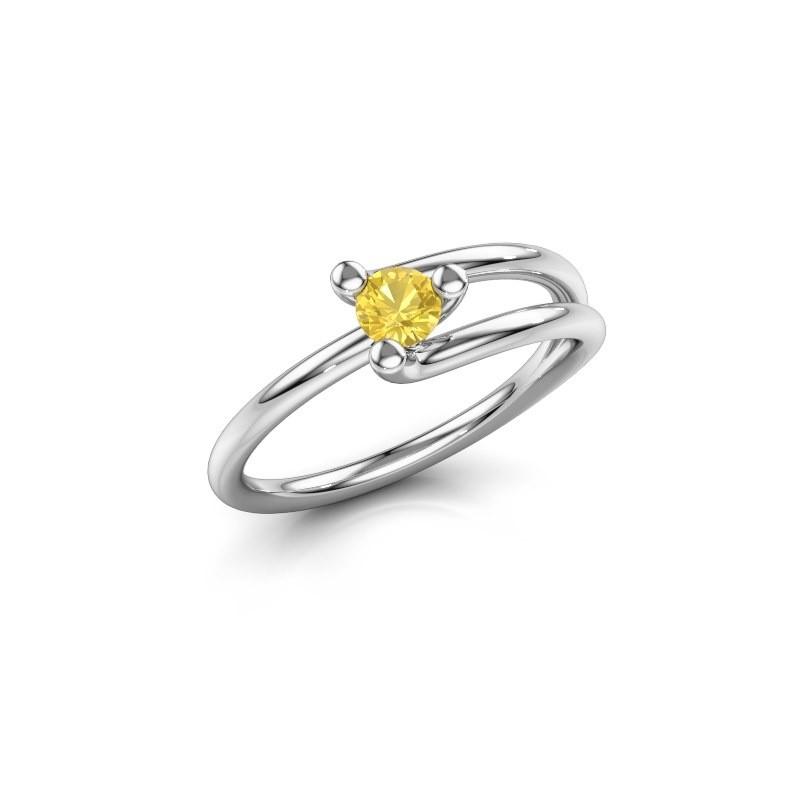 Ring Roosmarijn 925 Silber Gelb Saphir 3.7 mm