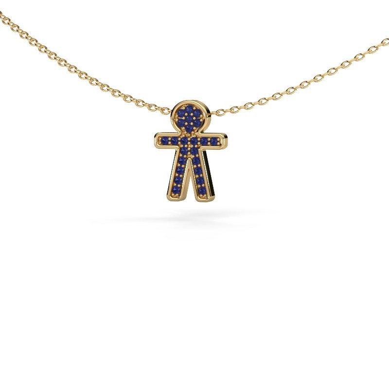 Hanger Boy 375 goud saffier 1 mm