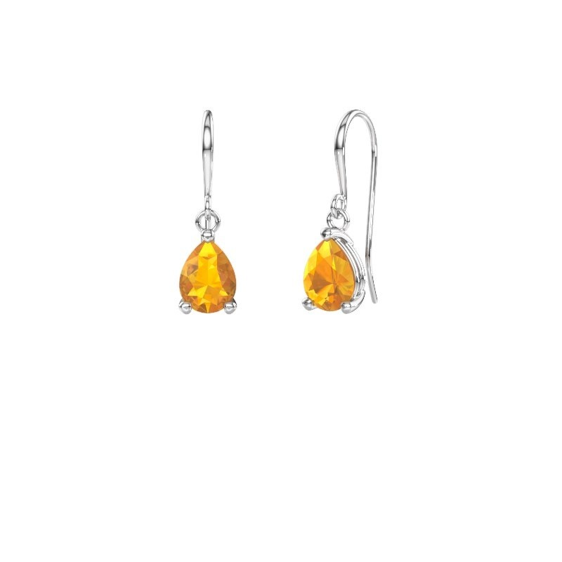 Drop earrings Laurie 1 950 platinum citrin 8x6 mm