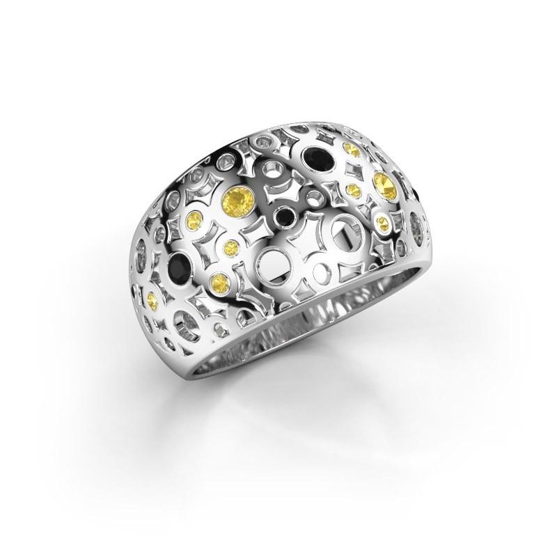 Ring Jaylinn 2 925 zilver gele saffier 2.2 mm