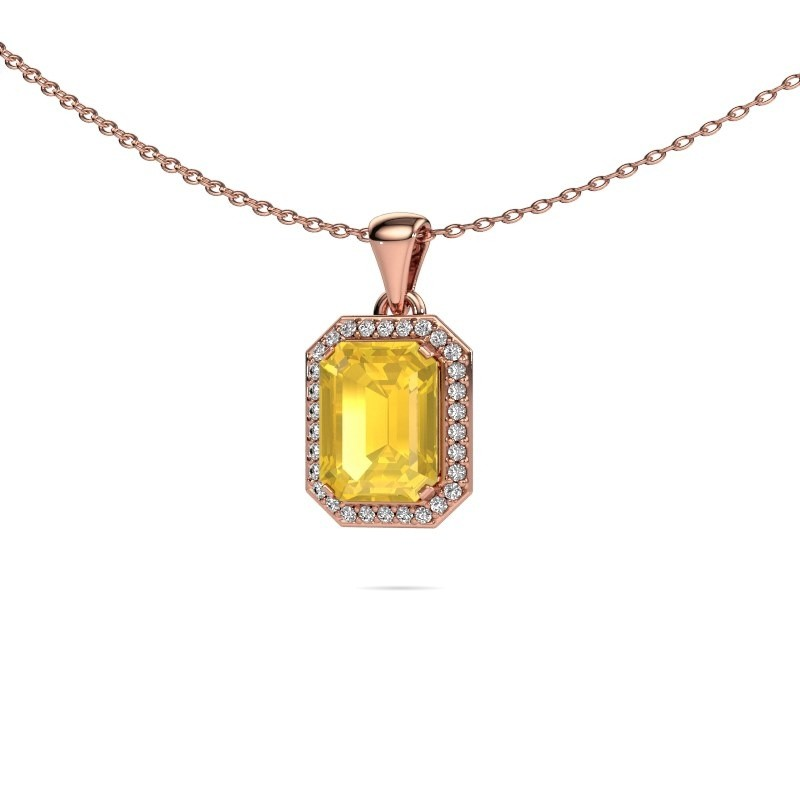 Ketting Dodie 375 rosé goud gele saffier 9x7 mm