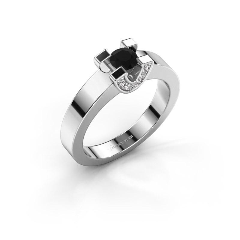 Verlovingsring Jasmijn 1 585 witgoud zwarte diamant 0.44 crt