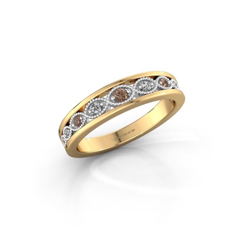 Bague superposable Laine 585 or jaune diamant brun 0.125 crt