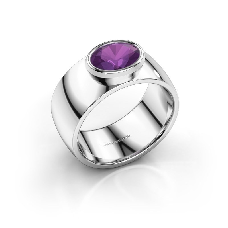 Ring Wilma 1 925 zilver amethist 8x6 mm