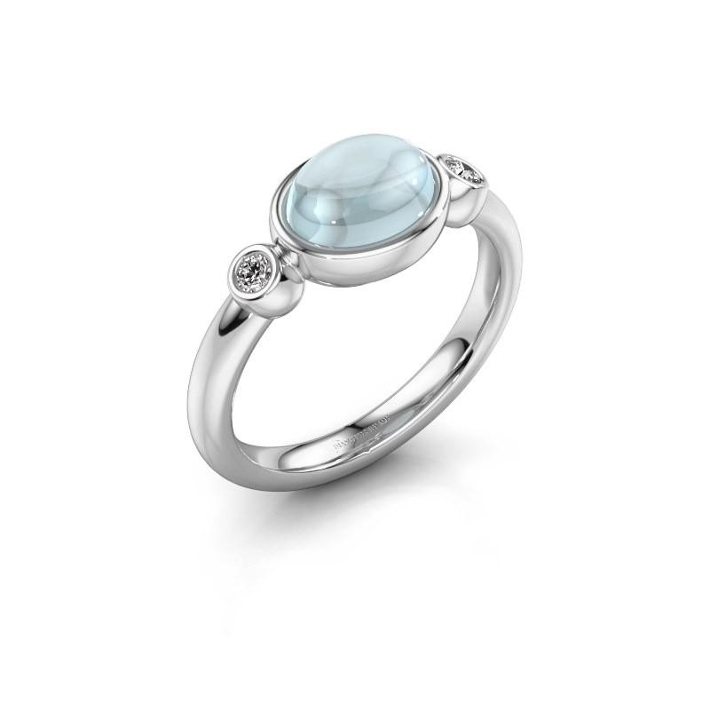 Ring Liane 925 zilver aquamarijn 8x6 mm