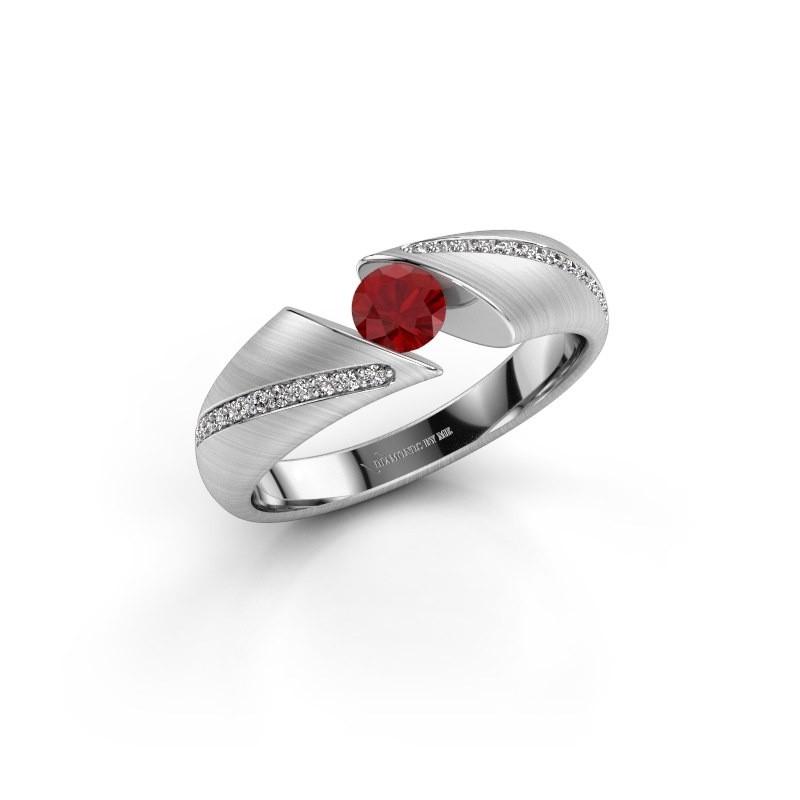 Verlovingsring Hojalien 2 925 zilver robijn 4.2 mm