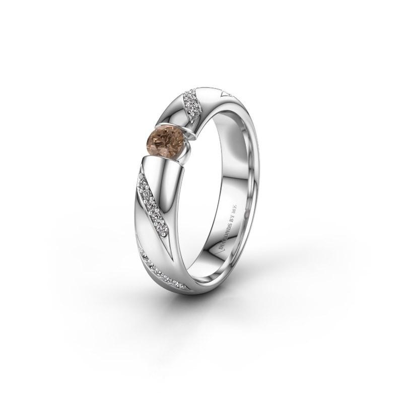 Trouwring WH2102L34A 925 zilver bruine diamant ±4x1.7 mm