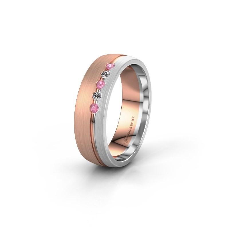 Trouwring WH0323L25AM 585 rosé goud roze saffier ±6x1.7 mm
