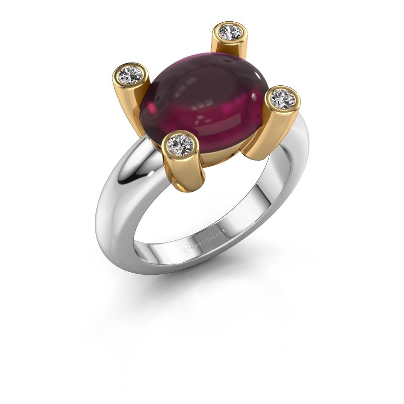 Ring Janice OVL 585 white gold rhodolite 12x10 mm