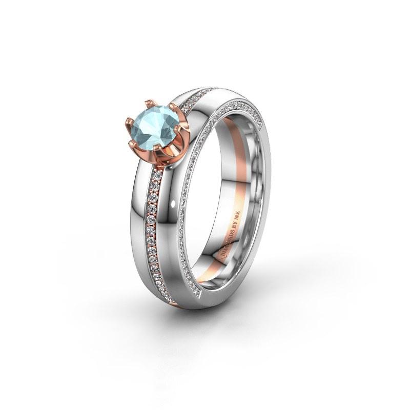 Huwelijksring WH0416L25E 585 rosé goud aquamarijn ±5x2.6 mm