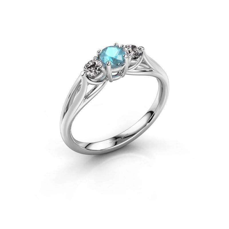 Verlovingsring Amie RND 585 witgoud blauw topaas 4.2 mm