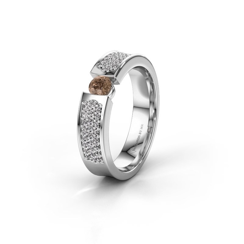 Trouwring WH2100L 585 witgoud bruine diamant ±5x3 mm