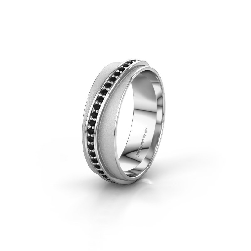 Huwelijksring WH2126L 925 zilver zwarte diamant ±6x1.7 mm