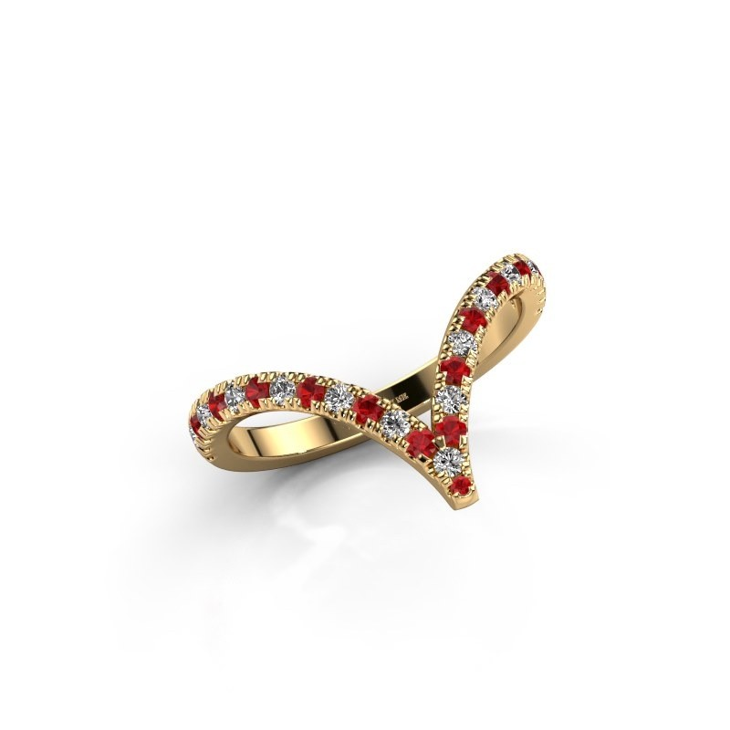 Ring Mirtha 375 gold ruby 1.5 mm