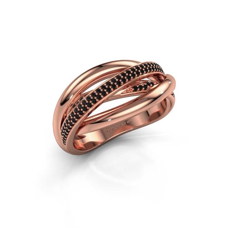 Ring Candice 375 rosé goud zwarte diamant 0.288 crt