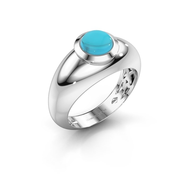 Ring Sharika 585 witgoud blauw topaas 6 mm