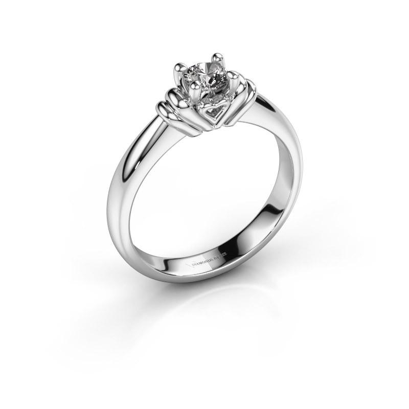 Verlovingsring Esmeralde 950 platina diamant 0.30 crt