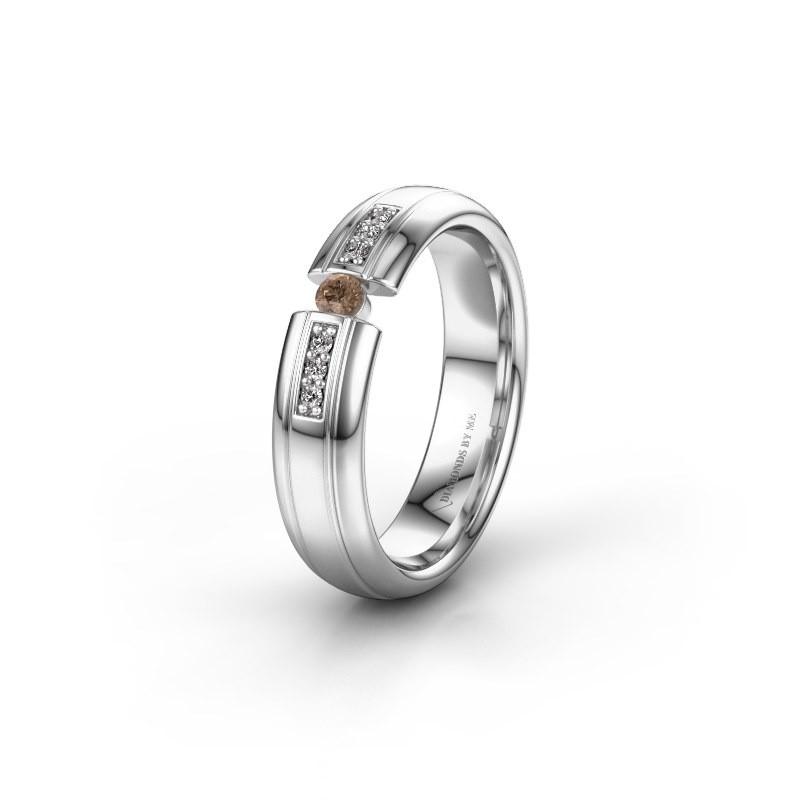Trouwring WH2128L26C 925 zilver bruine diamant ±5x2 mm