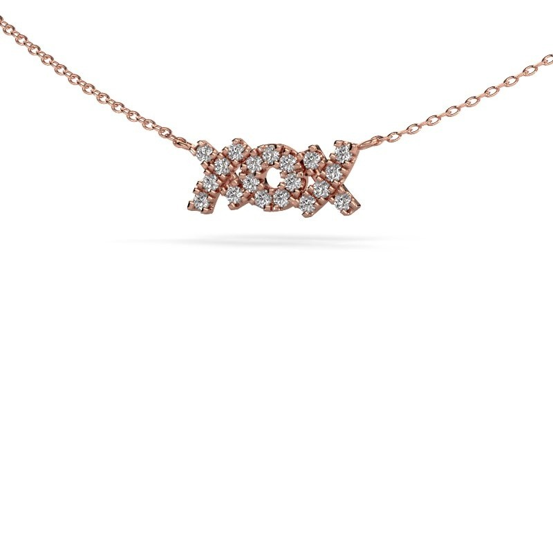 Collier XoX 375 or rose diamant synthétique 0.285 crt