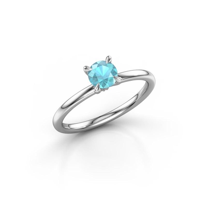 Verlovingsring Crystal RND 1 585 witgoud blauw topaas 5 mm
