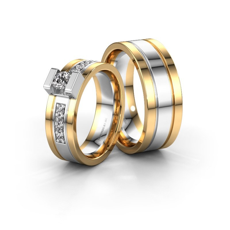 Trouwringen set WH2092LM16B ±6x2 mm 14 karaat witgoud diamant 0.25 crt