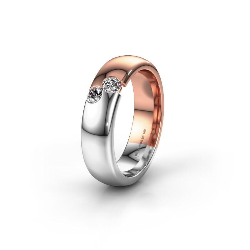 Trouwring WH1003L26C 585 rosé goud diamant ±6x2.2 mm