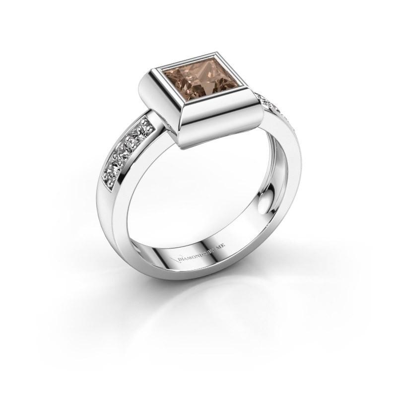 Ring Charlotte Square 925 Silber Braun Diamant 0.78 crt