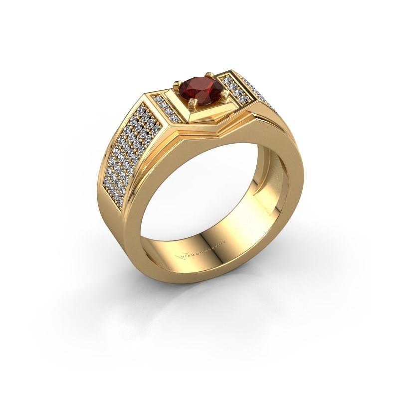 Men's ring Marcel 585 gold garnet 5 mm