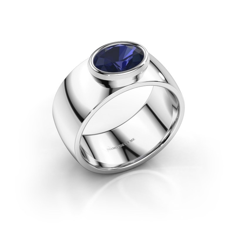 Ring Wilma 1 950 platina saffier 8x6 mm