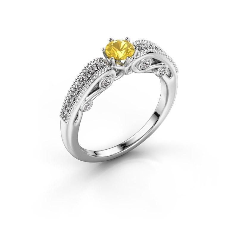Verlovingsring Christeen 950 platina gele saffier 4.2 mm