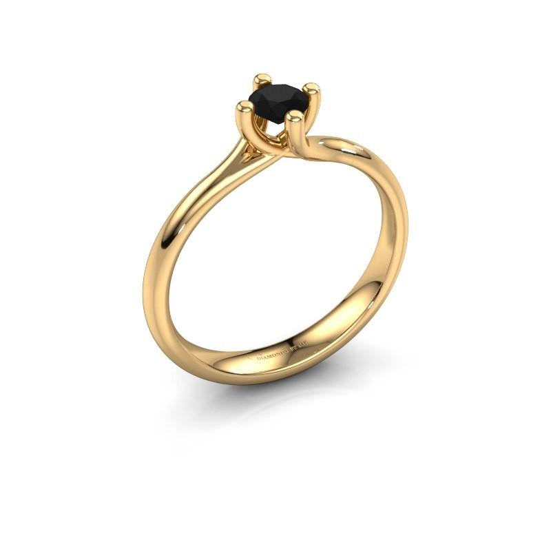 Engagement ring Dewi Round 375 gold black diamond 0.30 crt