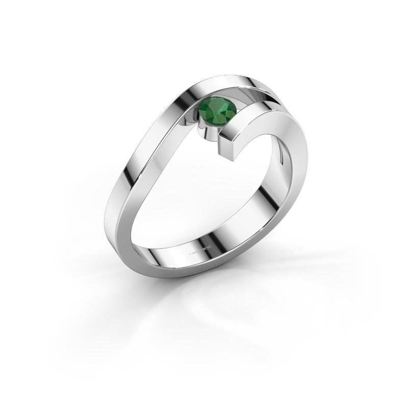 Ring Evalyn 1 925 zilver smaragd 3.7 mm