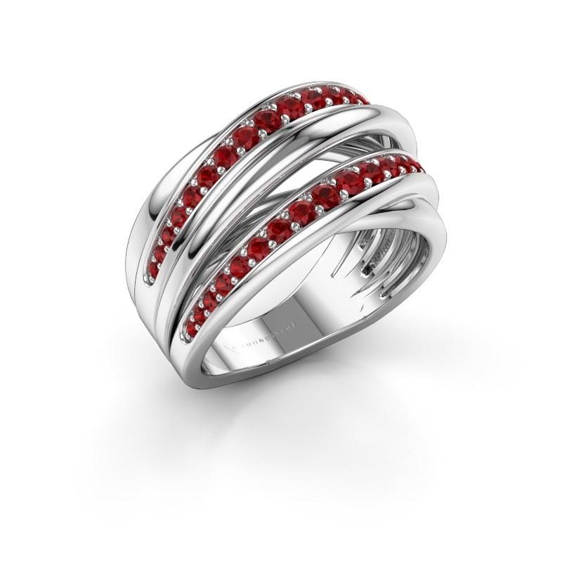 Ring Marylouise 2 950 platina robijn 1.2 mm