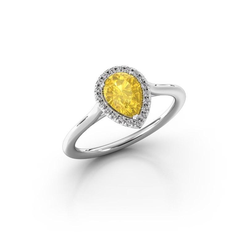 Engagement ring Seline per 1 950 platinum yellow sapphire 7x5 mm