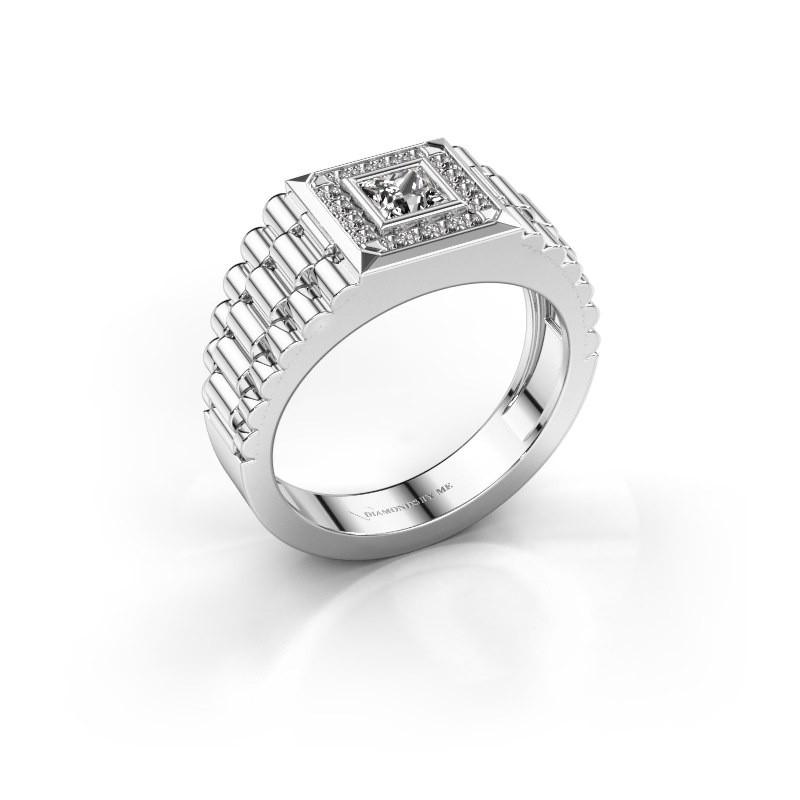 Rolex stijl ring Zilan 585 witgoud zirkonia 4 mm