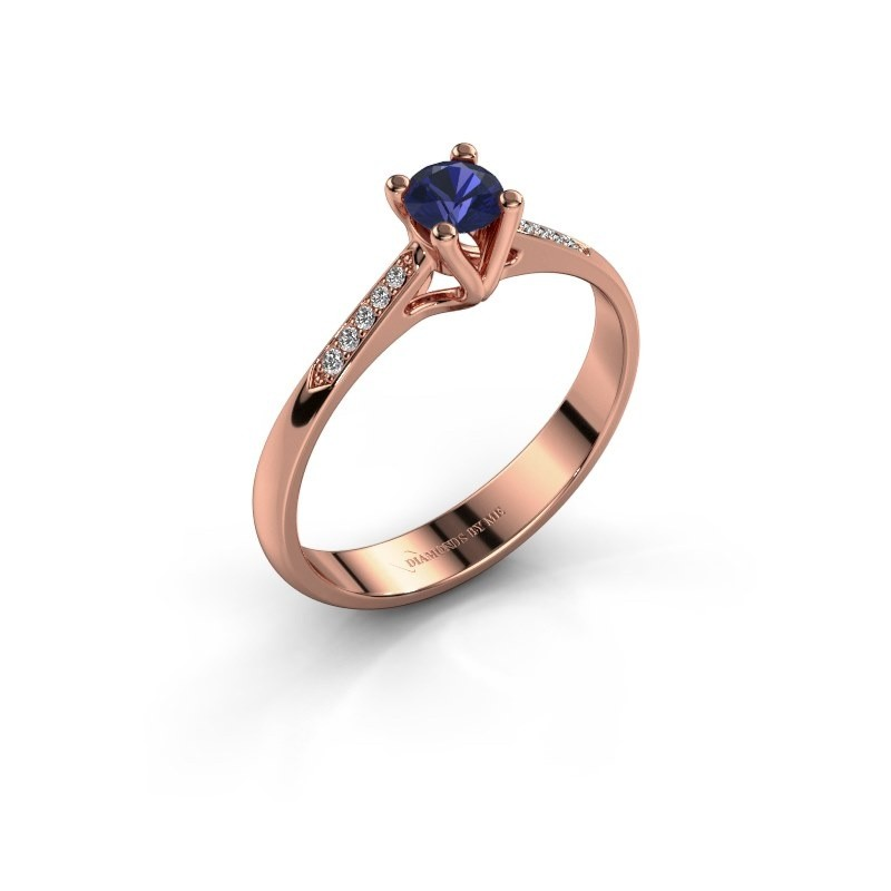 Promise ring Janna 2 375 rosé goud saffier 4 mm