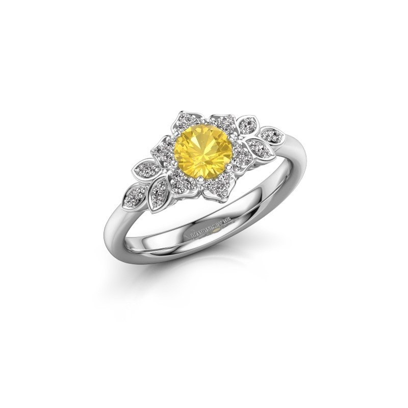 Engagement ring Tatjana 585 white gold yellow sapphire 5 mm