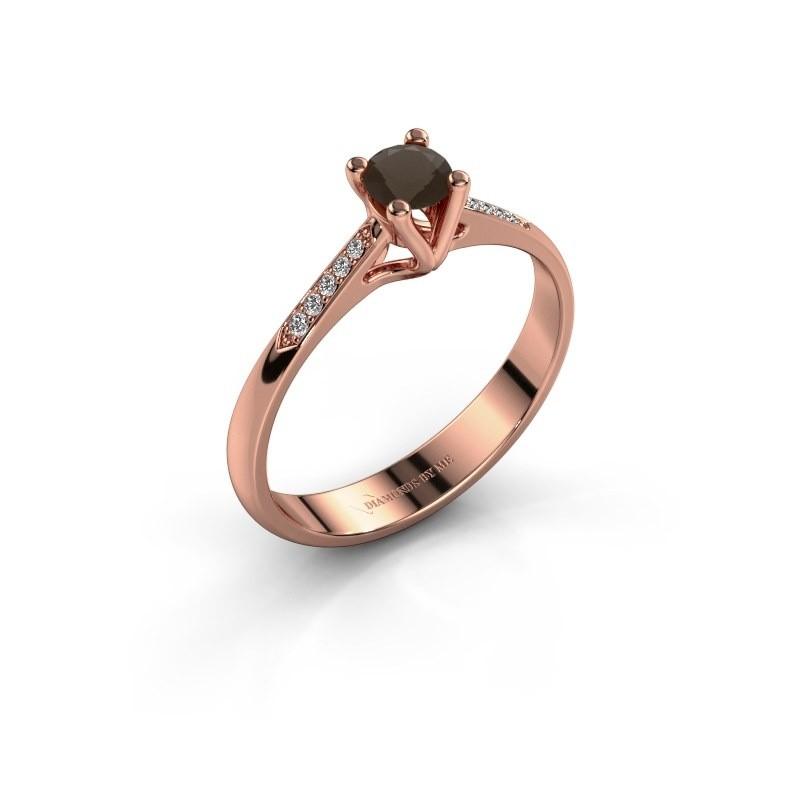 Promise ring Janna 2 375 rosé goud rookkwarts 4 mm
