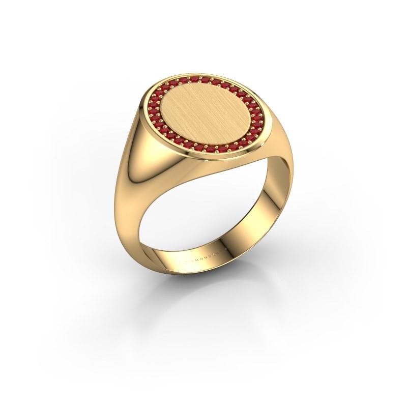 Men's ring Floris Oval 4 585 gold ruby 1.2 mm