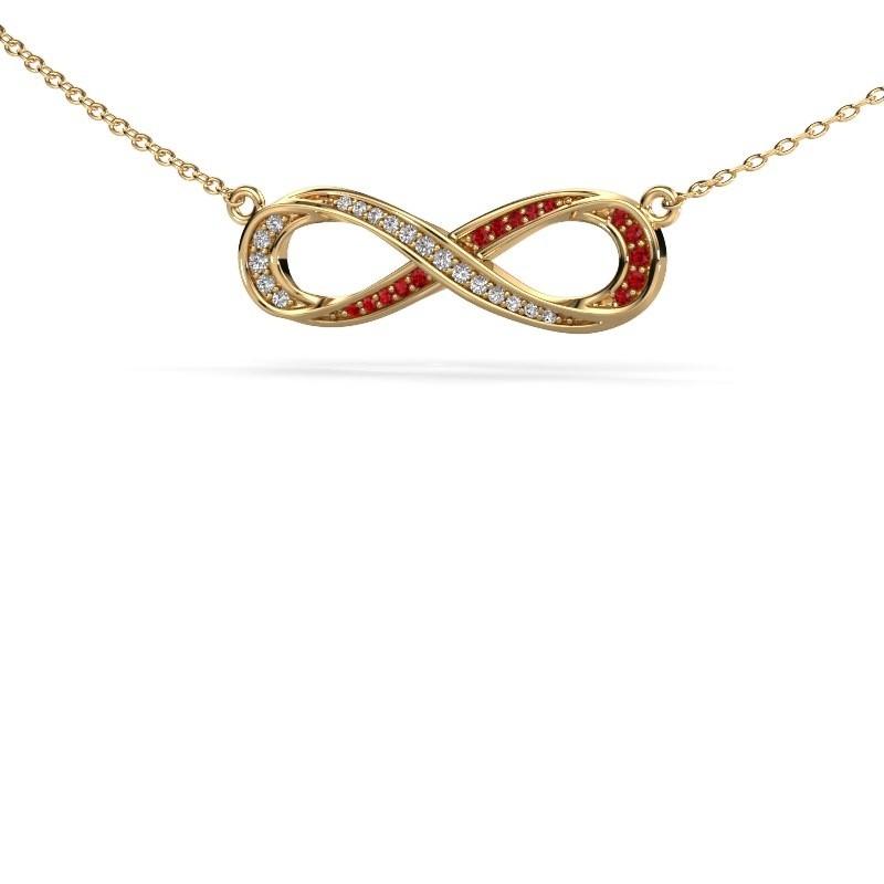 Collier Infinity 2 375 goud robijn 0.8 mm