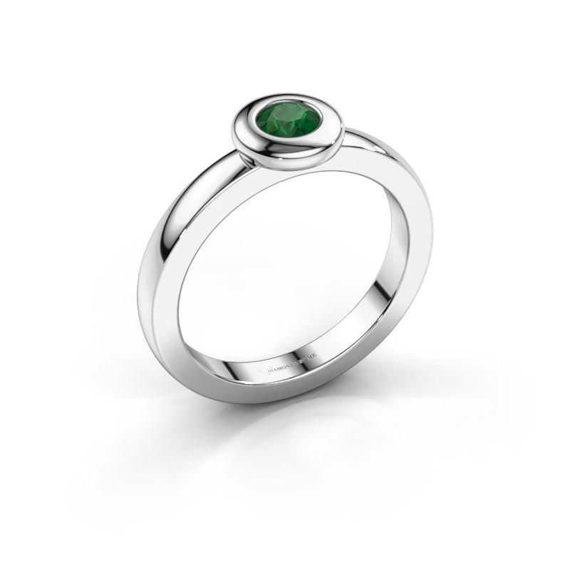 Ring Iris 585 white gold emerald 4 mm
