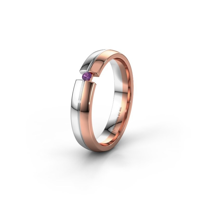 Wedding ring WH0254L24X 585 rose gold amethyst ±0.16x0.06 in